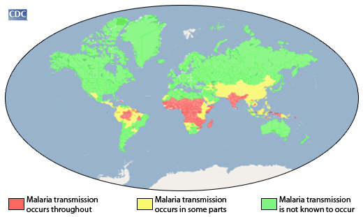 malaria world map