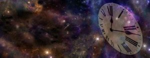 Deep space background banner with transparent clock face on right hand side